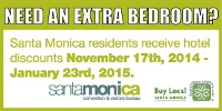 Santa Monica Hotels extra bedroom specials for the holidays ad