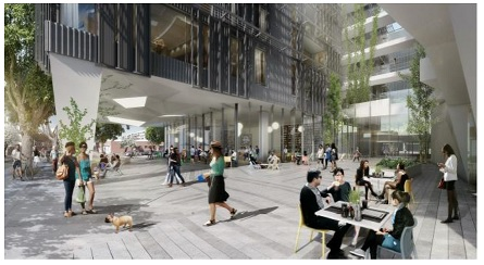 seven-story, mixed-use structure at 500 Broadway, replacing a Fred Segal complex public space