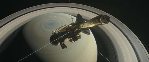Rendering of Cassini orbiting Saturn