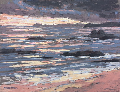 Bruce Trentham's painting Surf and Rocks