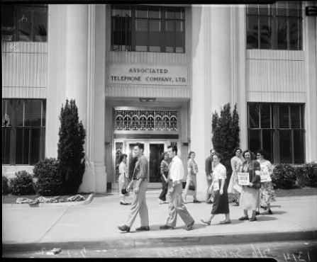 Picketers outside Associated Telephone Company Building, 1952