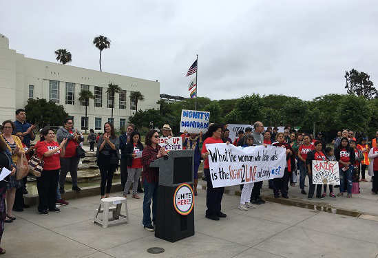 Hotel Workers Rally for Santa Monica Panic Button Ordinance